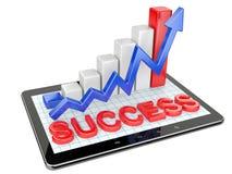 Grafico e grafico sul pc della compressa - concetto di successo Immagini Stock Libere da Diritti