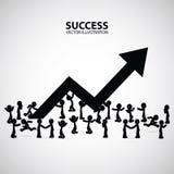 Grafico e progresso di crescita nella folla della gente Informazioni di arte di affari delle frecce Usufruisca la freccia rossa c Fotografia Stock Libera da Diritti
