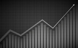 Grafico finanziario astratto con grafico lineare, istogramma e numeri di riserva di uptrend sul fondo grigio di colore illustrazione di stock
