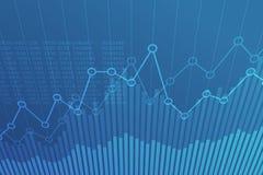 Grafico finanziario astratto con grafico lineare di uptrend su fondo blu illustrazione vettoriale