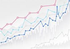 Grafico finanziario astratto con grafico lineare e numeri di tendenza nel mercato azionario Modello del modello pronto per la vos Fotografie Stock Libere da Diritti