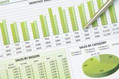 Grafico finanziario del diagramma di affari verdi Immagine Stock