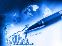 Grafico finanziario del grafico con il globo Fotografia Stock