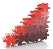 Grafico finanziario dell'istogramma di successo di puzzle Fotografia Stock