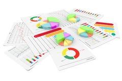 Grafico finanziario della torta di affari con il fondo dell'illustrazione delle azione di economia del documento 3d Fotografia Stock Libera da Diritti
