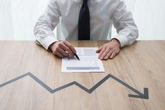 Grafico finanziario negativo Fotografie Stock