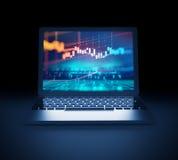 Grafico finanziario tecnico sull'illustrazione dello schermo 3d del computer portatile illustrazione di stock