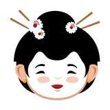 Grafico giapponese dell'icona del kimono rosso adorabile della ragazza Immagine Stock Libera da Diritti
