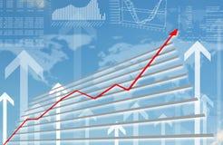 Grafico grafico con la freccia rossa su Fotografie Stock