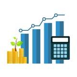 Grafico grafico con le monete di oro e del calcolatore Fotografia Stock