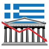Grafico greco di crisi finanziaria Fotografia Stock Libera da Diritti