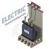 Grafico isometrico di informazioni della costruzione del trasformatore elettrico Centrale elettrica ad alta tensione illustrazione di stock