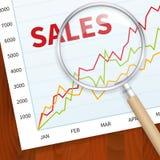 Grafico positivo di vendite di affari Immagini Stock Libere da Diritti