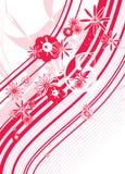 Grafico rosso di disegno floreale della sorgente del fiore Fotografie Stock