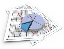 grafico a settori 3d sul documento di grafico Fotografia Stock