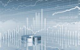 Grafico a settori di dati del mercato azionario Fotografie Stock