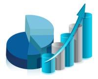 Grafico a settori e disegno dell'illustrazione di grafico a strisce Fotografia Stock Libera da Diritti