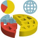 Grafico a settori finanziario globale 3D della globalizzazione Dat illustrazione di stock