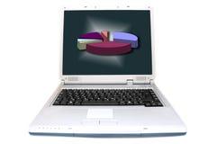 Grafico a settori su uno schermo del computer portatile Fotografia Stock