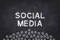 Grafico sociale di media - lavagna Fotografia Stock