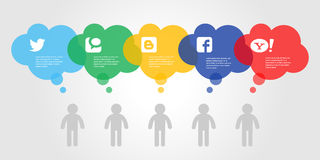 Grafico sociale variopinto di informazioni di media Illustrazione di vettore Royalty Illustrazione gratis