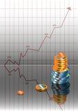 Grafico, soldi Fotografia Stock