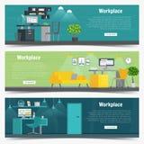 Grafico stabilito di interior design del posto di lavoro dell'ufficio dell'insegna di web Oggetti business, elementi ed attrezzat Immagini Stock
