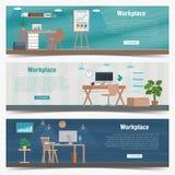 Grafico stabilito di interior design del posto di lavoro dell'ufficio dell'insegna di web Oggetti business, elementi ed attrezzat Immagini Stock Libere da Diritti