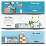 Grafico stabilito di interior design del posto di lavoro dell'ufficio dell'insegna di web Oggetti business, elementi ed attrezzat Fotografie Stock Libere da Diritti