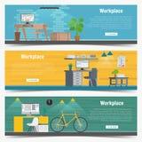 Grafico stabilito di interior design del posto di lavoro dell'ufficio dell'insegna di web Oggetti business, elementi ed attrezzat Fotografia Stock