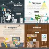 Grafico stabilito di interior design del posto di lavoro dell'ufficio dell'insegna Oggetti business, elementi ed attrezzature Mat Fotografie Stock