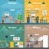 Grafico stabilito di interior design del posto di lavoro dell'ufficio dell'insegna Oggetti business, elementi ed attrezzature Mat Immagini Stock