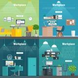 Grafico stabilito di interior design del posto di lavoro dell'ufficio dell'insegna Oggetti business, elementi ed attrezzature Fotografia Stock
