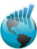 Grafico a strisce di sviluppo di affari globali sul mondo Fotografia Stock Libera da Diritti