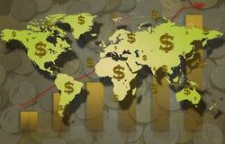 Grafico a strisce discendente con il simbolo di dollaro e l'istogramma. Immagini Stock Libere da Diritti