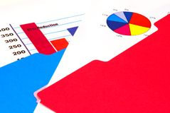 Grafico a strisce e grafico a settori Fotografia Stock
