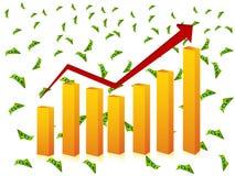 Grafico a strisce e valuta Fotografia Stock Libera da Diritti