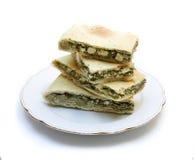 Grafico a torta degli spinaci con il formaggio di feta Fotografia Stock