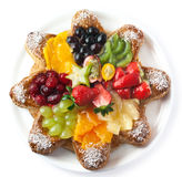 Grafico a torta della frutta isolato su priorità bassa bianca Fotografia Stock