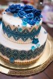 Grafico a torta 8 di cerimonia nuziale Blu dolce e bianco del dolce Fotografia Stock Libera da Diritti