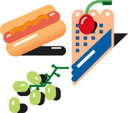 Grafico a torta di mirtillo dell'uva del hot dog Fotografia Stock