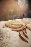Grafico a torta e farina Fotografia Stock
