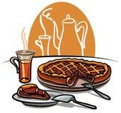 Grafico a torta e tè dolci Fotografia Stock Libera da Diritti