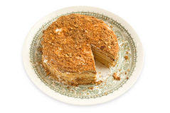 Grafico a torta stratificato sulla zolla Fotografie Stock
