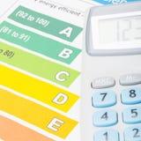 Grafico variopinto e calcolatore di rendimento energetico sopra - colpo alto vicino Fotografia Stock