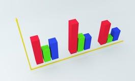 grafico variopinto finanziario 3D rappresentazione 3d Fotografia Stock Libera da Diritti