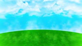 Grafico verde del paesaggio del prato inglese, fondo astratto della natura, animazione del ciclo, illustrazione di stock