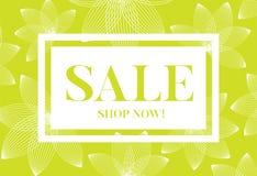 Grafico verde di vendita con i fiori delicati Fotografia Stock