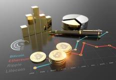 Grafico virtuale del mercato finanziario di cryptocurrency di Bitcoin Fotografia Stock