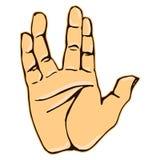 Grafico vulcan dell'icona di gesto di mano di saluto realistico Fotografia Stock